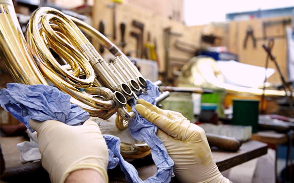 French Horn Being Repaired
